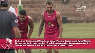Quade Cooper and Richard Graham press conference form Durban
